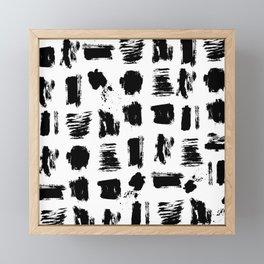 Modern black white artistic watercolor brushstrokes Framed Mini Art Print
