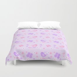 Chickadee Bird Butterfly Floral Purple Lavender Pink Duvet Cover