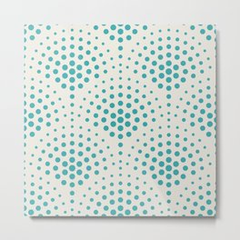 Aqua Teal Turquoise Solid Color Polka Dot Scallop Pattern on Alabaster White - Aquarium SW 6767 Metal Print