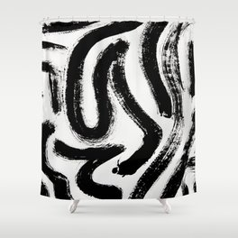 Black and White Abstract Pattern 1: A minimal black and white pattern by Alyssa Hamilton Art Shower Curtain