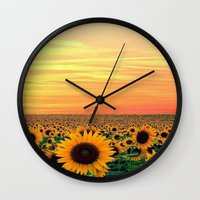 sunflower Wall Clocks featuring Sunflower by Don't Be A Dick