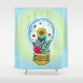Watercolor Magic Plant Bulb Shower Curtain
