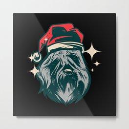 Bouvier des Flandres Dog christmas dog santa hat Metal Print