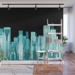 Hologram city panorama Wall Mural