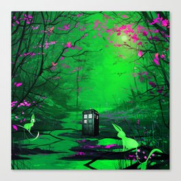 Tardis Alone Lost In The Forest Canvas Print