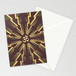 Om Fractal Purple & Yellow, Aum Kaleidoscope Stationery Cards