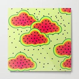 Watermelon Clouds Design Metal Print