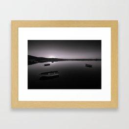 Boats on Knysna Lagoon at sunrise Framed Art Print