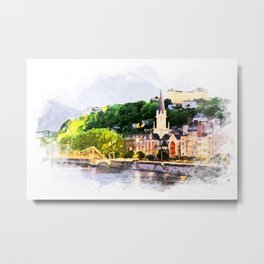 Lyon France Watercolor City Landscape Art  Metal Print
