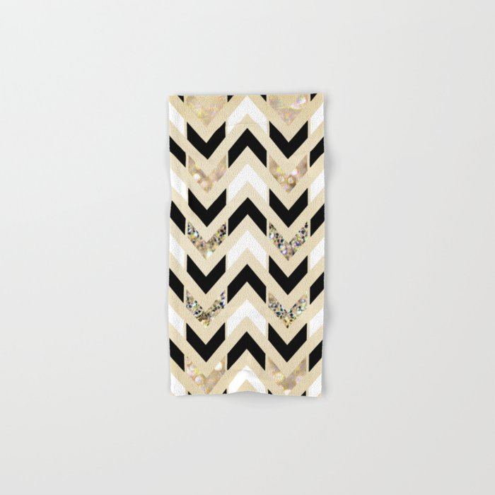 Black White Gold Glitter Herringbone Chevron On Cream Hand Bath Towel