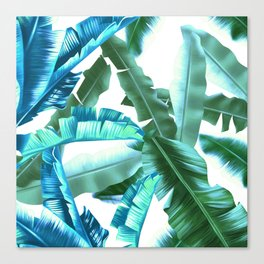 tropical banana leaves pattern turquoise Canvas Print