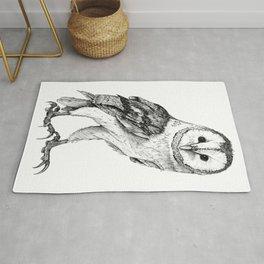 Barn Owl - Drawing In Black Pen Rug