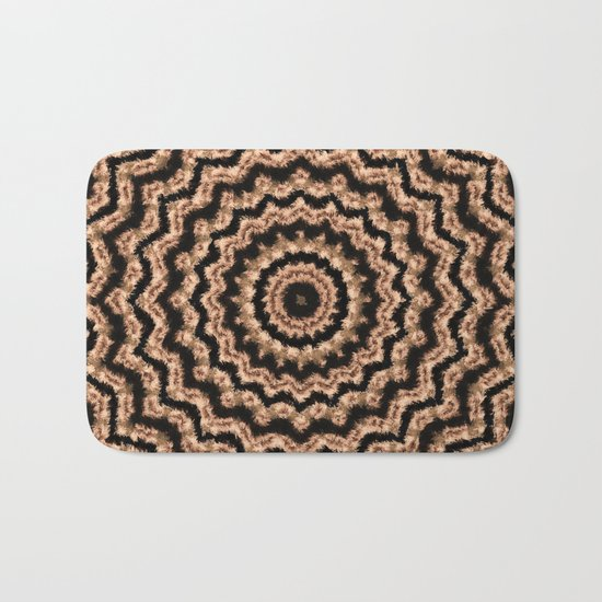 Kaleidoscope Beige Circular Pattern on Black Bath Mat