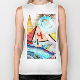 Wooden sail boat Love - Wild ocean waves Biker Tank