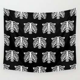 Human Rib Cage Pattern Black and White Wall Tapestry