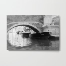 the boats sit quietly in the Venice Canals; black and white photography Metal Print