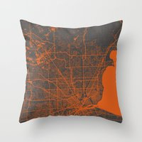 detroit Throw Pillows featuring Detroit map by Map Map Maps