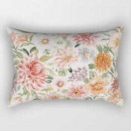 Loose Peachy Dahlia Watercolor Bouquet Rectangular Pillow