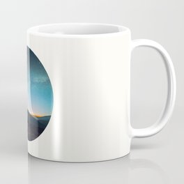 Mid Century Modern Round Circle Photo Graphic Design Mikey Way During Sunset Mountain Silhouette Coffee Mug