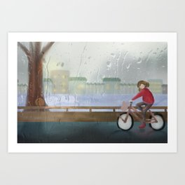 cycling after the rain stops Art Print