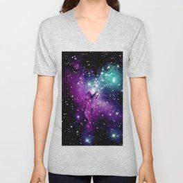 Eagle Nebula purple blue teal Unisex V-Neck