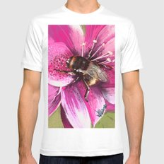 Bee on flower 13 White MEDIUM Mens Fitted Tee