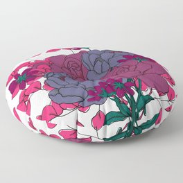 Pink and Purple Floral Bouquet Floor Pillow
