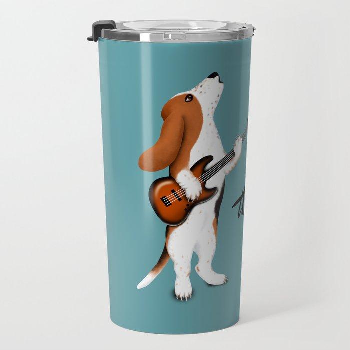 Basset the Bassist (Blue-Gray) Travel Mug