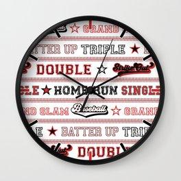 Baseball Sayings Pattern - Red White Black Wall Clock