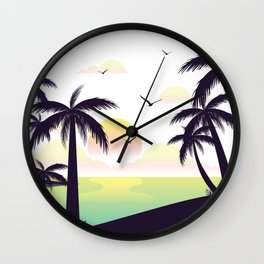 Hawaii Nights Sunset Illustration Wall Clock