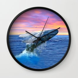 Breaching Humpback Whale at Sunset Wall Clock