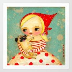 Babushka with pug dog Art Print