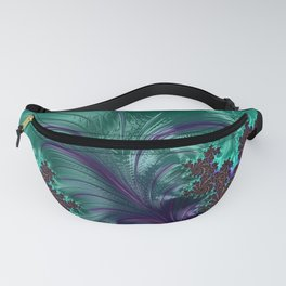 Elegant Abstract Plume Of Feathers In Chocolate & Turquoise Fanny Pack