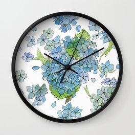Blue Hydrangea Watercolor Wall Clock