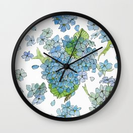 Blue Hydrangea Watercolor Wall Clock