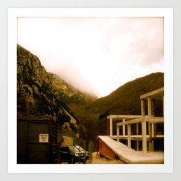 Stand here with the mountain in background Art Print
