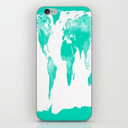 World Map Mint Turquoise iPhone Skin