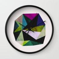 emerald Wall Clocks featuring Emerald by Georgiana Paraschiv