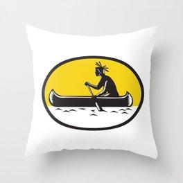 Native American Indian Paddling Canoe Woodcut Throw Pillow