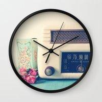 radio Wall Clocks featuring Retro Radio by Olivia Joy StClaire