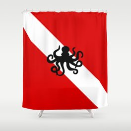Diving Flag: Octopus Shower Curtain