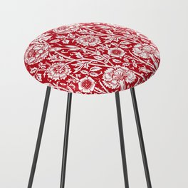 "William Morris Floral Pattern | ""Pink and Rose"" in Red and White Counter Stool"