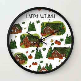 Brown scandinavian greenlandian wooden houses, trees, forest, maple leaf, spiders, cobweb, grass on the roof with white borders and Happy autumn text, can be used as seamless pattern Wall Clock