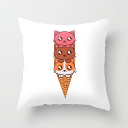 An Ice Cream Cat Theme T-shirt Design Sweets Cold Cream Creamy Iced Ice Sweet Bell Lollipop  Throw Pillow