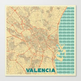 Valencia Map Retro Canvas Print