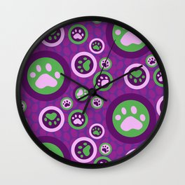 Purple Dog Lovers Pattern Wall Clock