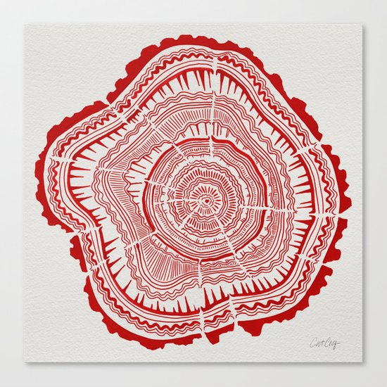 Red Tree Rings Canvas Print