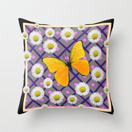 Yellow Butterfly on Black-grey Shasta Daisy Abstract Pattern Throw Pillow