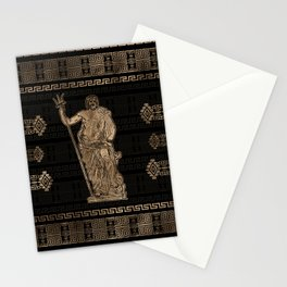 Poseidon and Greek Meander Ornament Stationery Cards