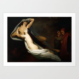 The Ghosts of Paolo and Francesca Appear to Dante and Virgil Art Print